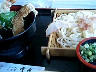 麺房・居酒屋「重市」のざるうどんとミニ天丼のセット