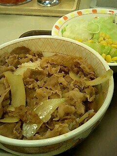 すき家の牛丼サラダセット