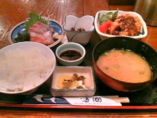 北海道料理「雪国」のお刺身と十勝コロッケ定食