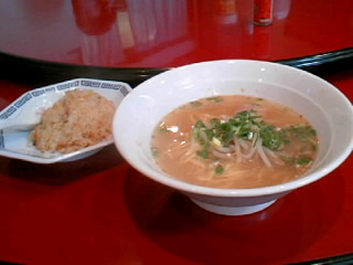 中華三昧「おおとり」のラーメンと炒飯のセット