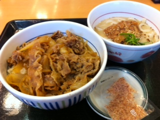 なか卯の和風牛丼と豚カルビとんこつうどん(小)セット