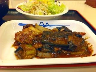 松屋の茄子と豚肉の辛味噌炒め定食