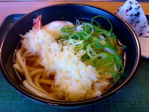 麺家の海老天温玉うどん定食