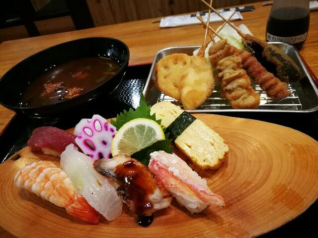 海鮮れすとらん 魚輝水産 新大阪店の寿司串かつ定食