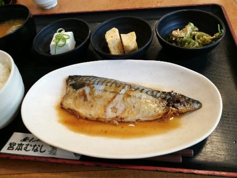 宮本むなし パウ住之江公園店の鯖の煮付け定食